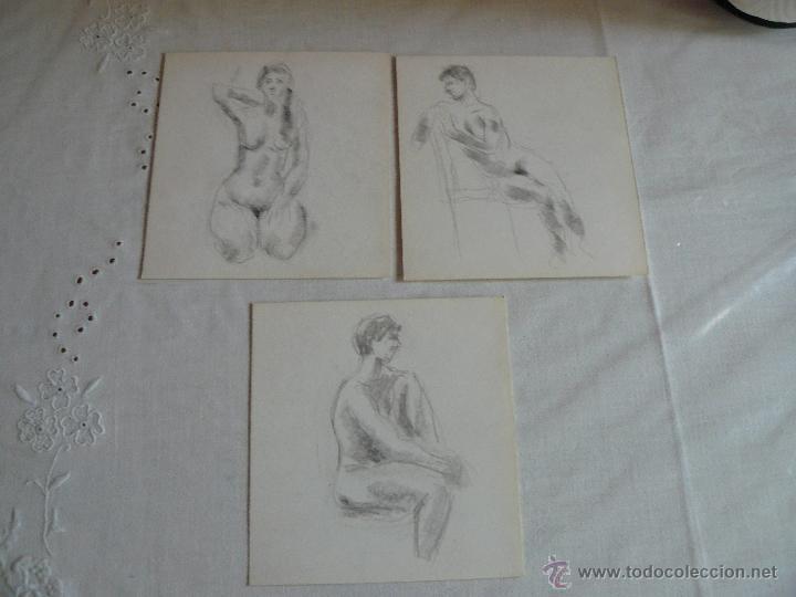 DIBUJOS A LÁPIZ Y CARBONCILLO - DESNUDOS FEMENINOS (T) (Arte - Dibujos - Contemporáneos siglo XX)