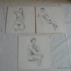 Arte: DIBUJOS A LÁPIZ Y CARBONCILLO - DESNUDOS FEMENINOS (T). Lote 41286377