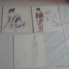 Arte: DIBUJOS A LÁPIZ , CARBONCILLO Y SANGUINA DESNUDOS FEMENINOS (U). Lote 41286429