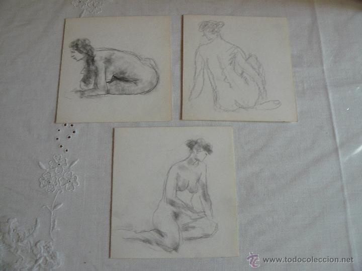 DIBUJOS A LÁPIZ Y CARBONCILLO - DESNUDOS FEMENINOS (W) (Arte - Dibujos - Contemporáneos siglo XX)