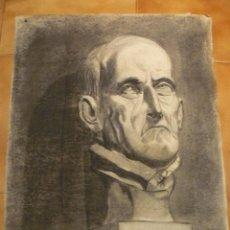 Arte: DIBUJO- CARBONCILLO - Mº ROSA TORRES - BUSTO MASCULINO. Lote 41288001