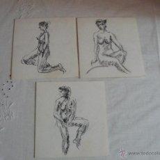 Arte: DIBUJOS A TINTA Y CARBONCILLO - DESNUDOS FEMENINOS (Y). Lote 41303872