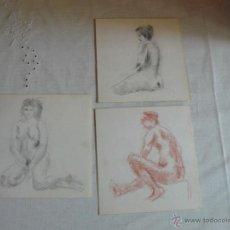 Arte: DIBUJOS A LÁPIZ, CARBONCILLO Y SANGUINA DESNUDOS FEMENINOS (A1). Lote 41304104