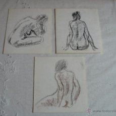 Arte: DIBUJOS A CERA Y CARBONCILLO - DESNUDOS FEMENINOS (B1). Lote 41304189
