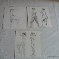 Arte: DIBUJOS A LAPIZ Y CARBONCILLO - DESNUDOS FEMENINOS (C1). Lote 41304274