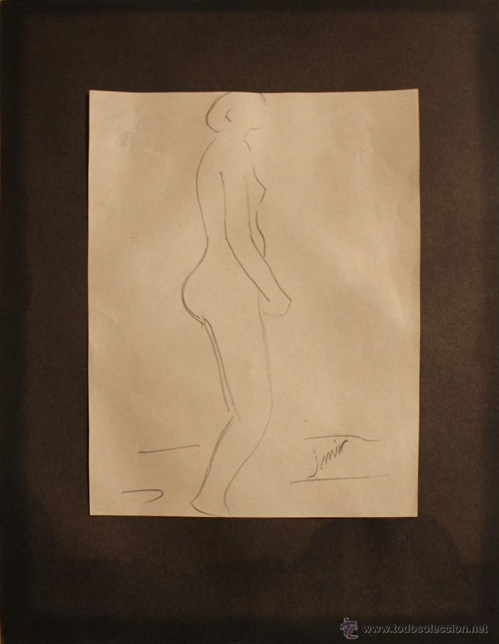 DIBUJO A LÁPIZ A DOS CARAS FIRMADO J. MIR - MUJERES DE PERFIL - PRIMERA MITAD SIGLO XX (Arte - Dibujos - Contemporáneos siglo XX)