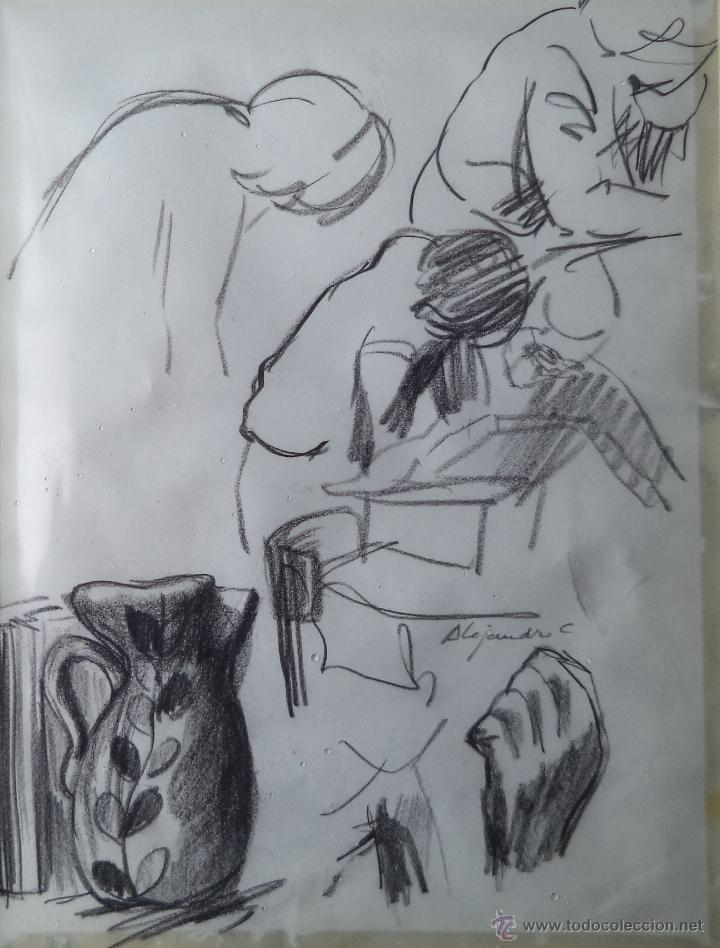 ALEJANDRO COSTA / ESBOZO / LIBRO, JARRA, MANO, FIGURAS. (Arte - Dibujos - Contemporáneos siglo XX)
