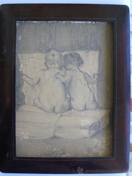 PRECIOSO Y ROMANTICO DIBUJO A LAPIZ. IDILIO. AUSTRIA.1921. FIRMADO BERT RODRIGUEZ (Arte - Dibujos - Contemporáneos siglo XX)