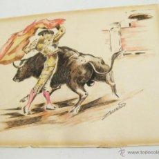 Arte: DIBUJO EN ROTULADOR Y ACUARELA DEL PINTOR ZACARIAS - AÑOS 60 - TOROS. Lote 41513308