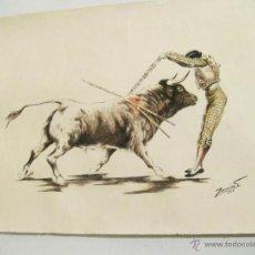 Arte: DIBUJO EN TINTA Y ACUARELA DEL PINTOR ZACARIAS - 1964 - TOROS. Lote 41513358