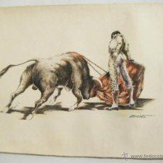 Arte: DIBUJO DE TOROS EN TINTA Y ACUARELA DEL PINTOR ZACARIAS - 1964. Lote 41513390