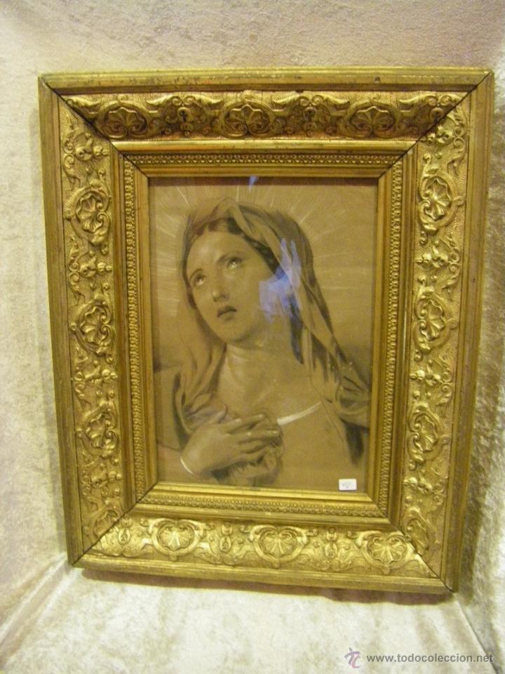 DIBUJO INMACULADA CONCEPCIÓN, ACADEMIA SIGLO XIX Y MARCO DE ÉPOCA DORADO (Arte - Dibujos - Modernos siglo XIX)