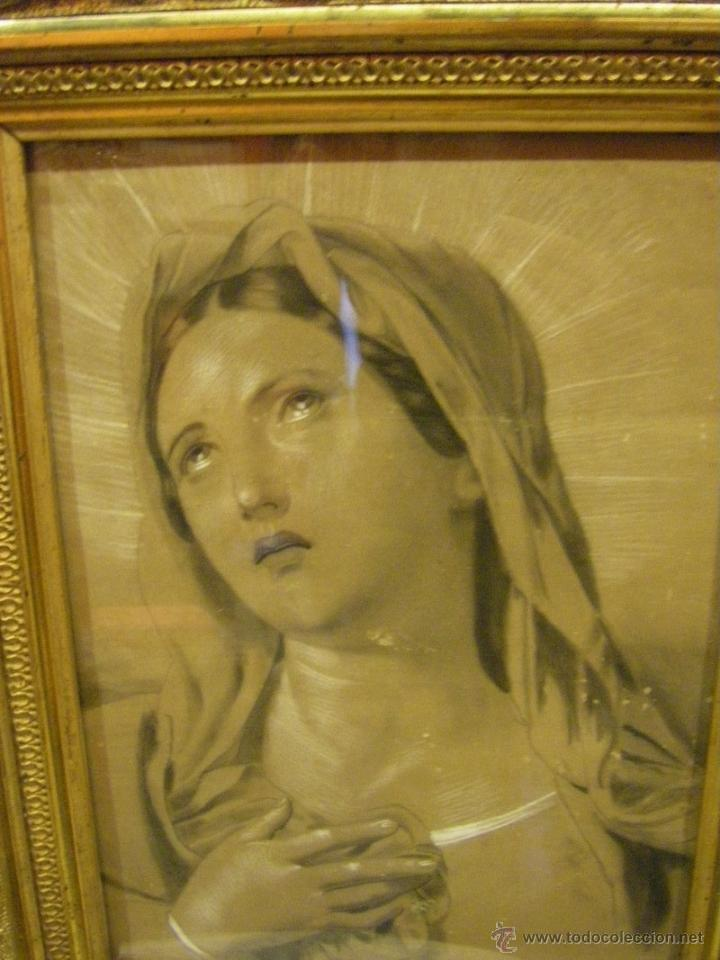 Arte: Dibujo Inmaculada Concepción, academia siglo XIX y marco de época dorado - Foto 2 - 41616648