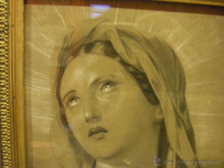 Arte: Dibujo Inmaculada Concepción, academia siglo XIX y marco de época dorado - Foto 3 - 41616648