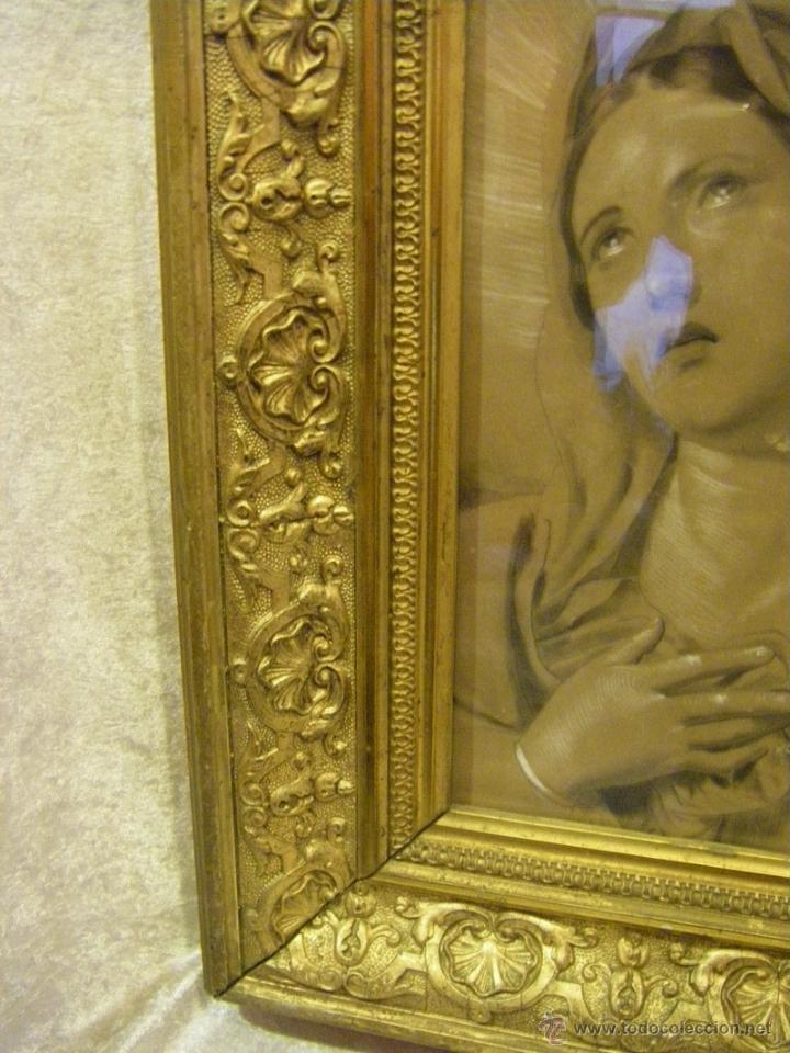 Arte: Dibujo Inmaculada Concepción, academia siglo XIX y marco de época dorado - Foto 5 - 41616648