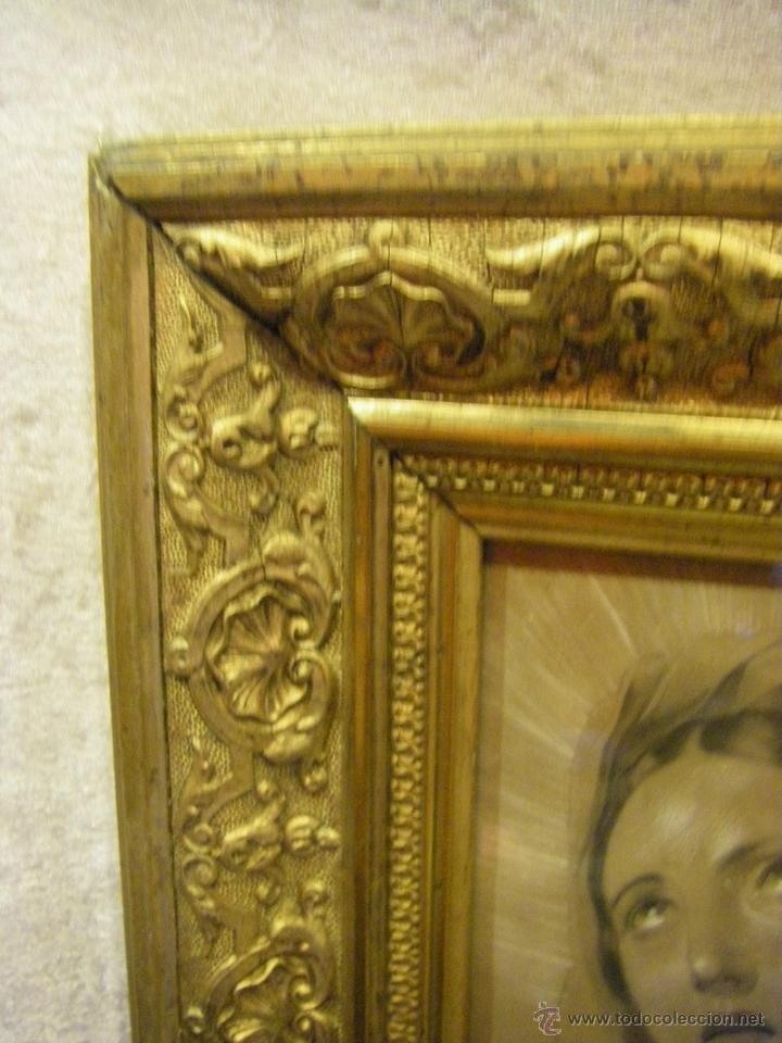 Arte: Dibujo Inmaculada Concepción, academia siglo XIX y marco de época dorado - Foto 6 - 41616648