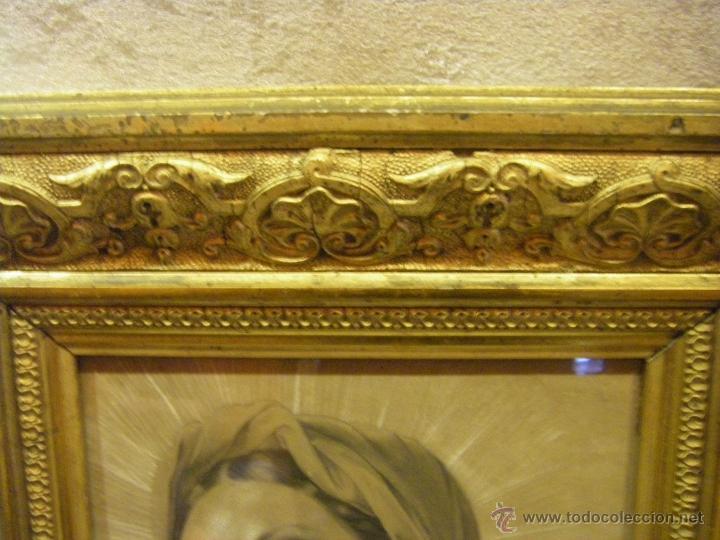 Arte: Dibujo Inmaculada Concepción, academia siglo XIX y marco de época dorado - Foto 7 - 41616648