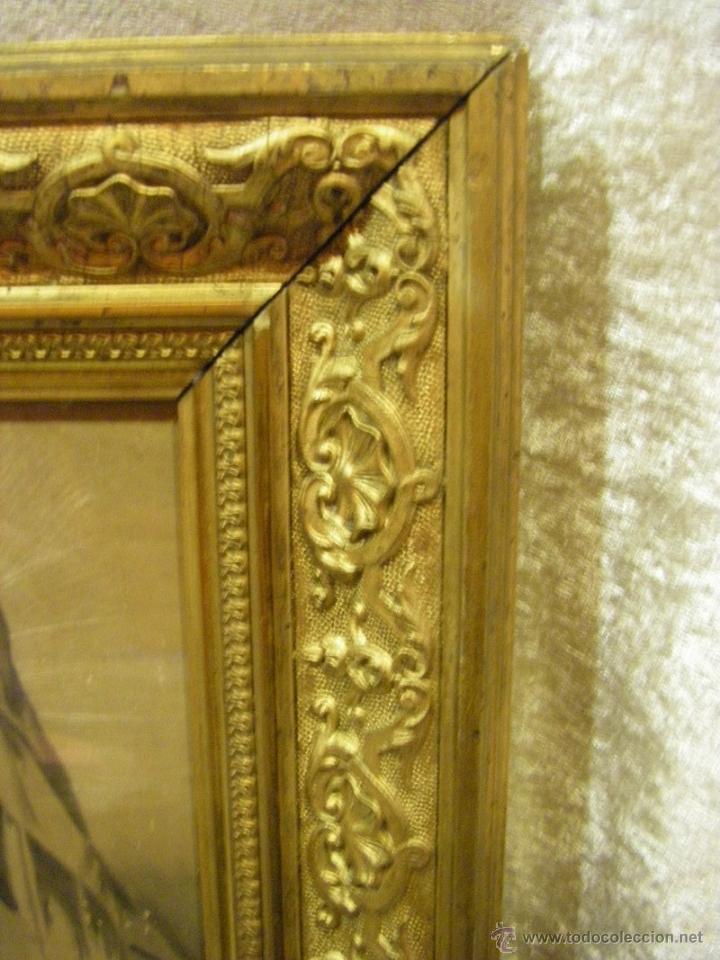 Arte: Dibujo Inmaculada Concepción, academia siglo XIX y marco de época dorado - Foto 8 - 41616648