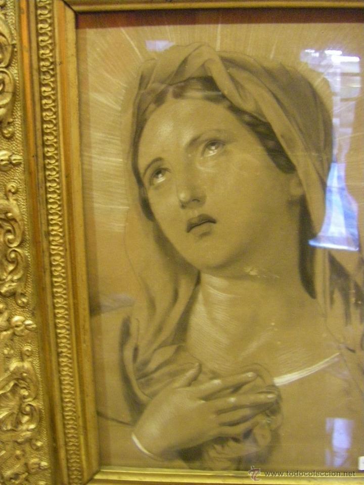 Arte: Dibujo Inmaculada Concepción, academia siglo XIX y marco de época dorado - Foto 11 - 41616648