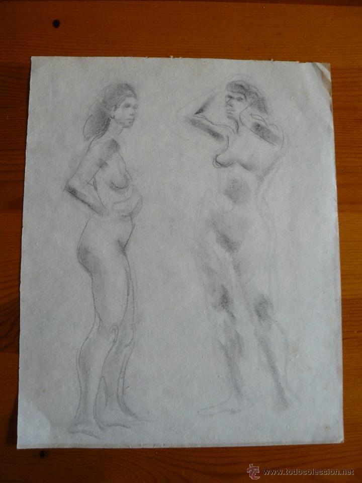 DIBUJOS A LÁPIZ Y CARBONCILLO - DESNUDOS FEMENINOS (68) (Arte - Dibujos - Contemporáneos siglo XX)