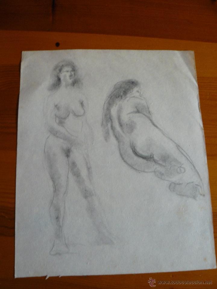 DIBUJOS A CARBONCILLO DESNUDOS FEMENINOS (70) (Arte - Dibujos - Contemporáneos siglo XX)