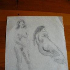 Arte: DIBUJOS A CARBONCILLO DESNUDOS FEMENINOS (70). Lote 41637826