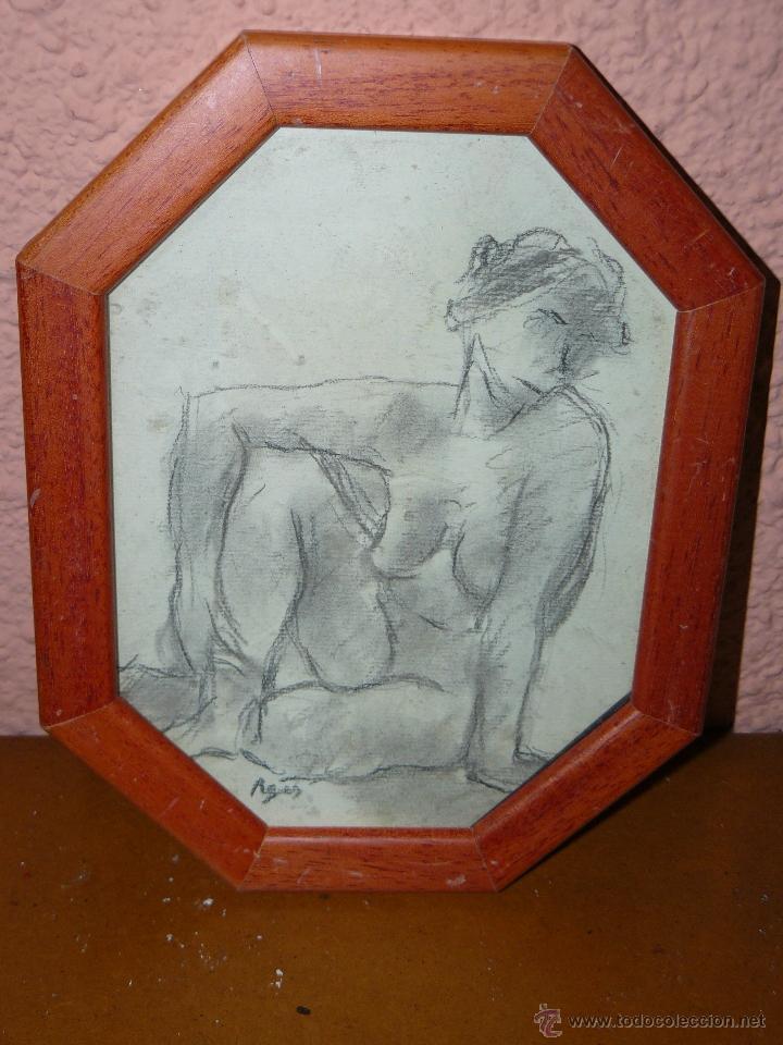 DIBUJO A LAPIZ Y CARBONCILLO - PAGÉS - DESNUDO FEMENINO (Arte - Dibujos - Contemporáneos siglo XX)