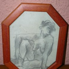 Arte: DIBUJO A LAPIZ Y CARBONCILLO - PAGÉS - DESNUDO FEMENINO. Lote 41672805