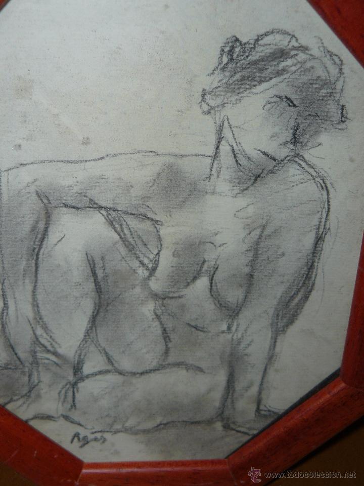 Arte: DIBUJO A LAPIZ Y CARBONCILLO - PAGÉS - DESNUDO FEMENINO - Foto 2 - 41672805