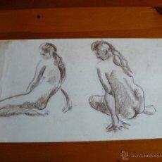 Arte: DIBUJO DESNUDO FEMENINO CARBONCILLO (82).. Lote 41709606