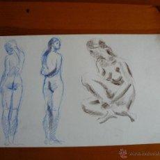 Arte: DIBUJO DESNUDO FEMENINO CARBONCILLO Y TINTA (84).. Lote 41709693