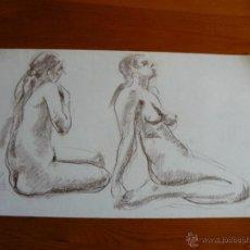 Arte: DIBUJO DESNUDO FEMENINO CARBONCILLO (85).. Lote 41709742
