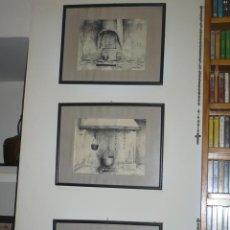 Arte: TRES CUADROS DIBUJOS DE COCINAS DE PUEBLO AL CARBONCILLO FIRMADOS ( GABALDA 81 ). Lote 41790900