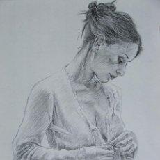 Arte: DIBUJO CHICA VISTIENDOSE EN LAPIZ GRAFITO. Lote 41871142