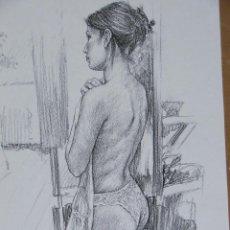 Arte: DIBUJO DE CHICA TAPANDOSE. Lote 42035542