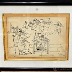 Arte: FIRMADO SAINZ RUIZ, DIBUJO A TINTA HUMORISTICO FECHADO DEL AÑO 1966. Lote 42101425