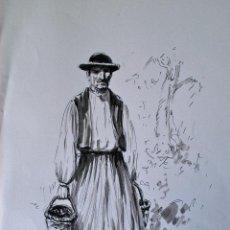 Arte: DIBUJO ORIGINAL A TINTA Y ACUARELA, ANGEL LEMOS (SIN FIRMAR) FOLKLORE MALLORQUIN, RECOLECTOR. Lote 42114846