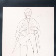 Arte: DIBUJO DE LAPIZ SOBRE PAPEL, TEMA SEÑOR, FIRMADO JORDI CUROS AÑO 1955. Lote 42257510