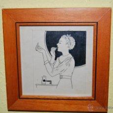 Arte: DIBUJO ORIGINAL EN TINTA - MUJER MAQUILLÁNDOSE - AÑOS 50. Lote 42458444