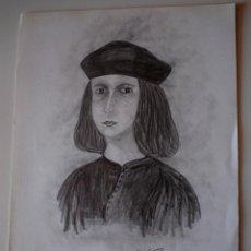 Arte: DIBUJO ORIGINAL A LAPIZ (CARBONCILLO). RETRATO DE BERENGUER D'ANOIA, INCA. FIRMADO RIUTORT . Lote 42466356