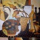 Arte: PRECIOSO CUADRO ART DECO. BODEGÓN CUBISTA. ACRÍLICO SOBRE TABLA (88CM X 80CM). Lote 42550252