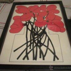Arte: ORIGINAL DIBUJO FLORES ROJO Y NEGRO - FIRMADO CARLOS 22 - 8 -75. Lote 42686192