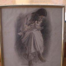 Arte: DIBUJO A LAPIZ MATERNIDAD DEL ARTISTA CATALAN SALVADOR ALTARRIBA I VILARASAU. Lote 42697042