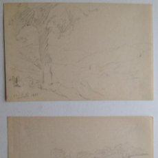 Arte: DOS BOCETOS A LÁPIZ . FECHADOS 1862. Lote 42717409