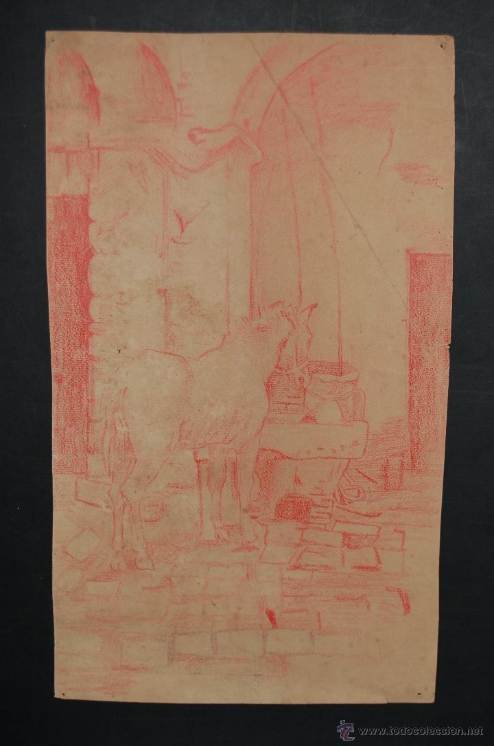 Dibujo A Lapiz De Color Anonimo Establo Con C Vendido En