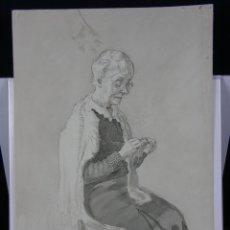 Arte: AGUADA AGUATINTA Y PLUMILLA ANCIANA CON GAFAS TEJIENDO SENTADA FECHA 1951 BOCETOS EN REVERSO. Lote 42969025