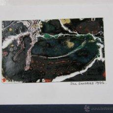 Arte: TARJETA DIBUJO FIRMADO JILL SANDERS 1996 ESCRITA EN EL REVERSO SANTANDER 1997. Lote 43008530
