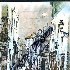 Arte: DIBUJO COLOREADO TIPO ACUARELA , JUAN SEVILLA SAEZ , CARTULINA , PARIS ,ESCENA ORIGINAL. Lote 43043332