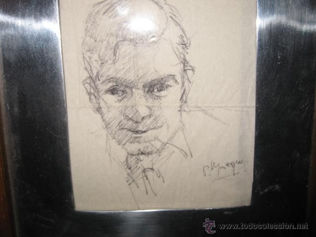 DIBUJO A LAPIZ SOBRE SERVILLETA DE PAPEL, FIRMADO P. MARQUES - MARCO DE ALUMINIO Y MADERA (Arte - Dibujos - Contemporáneos siglo XX)