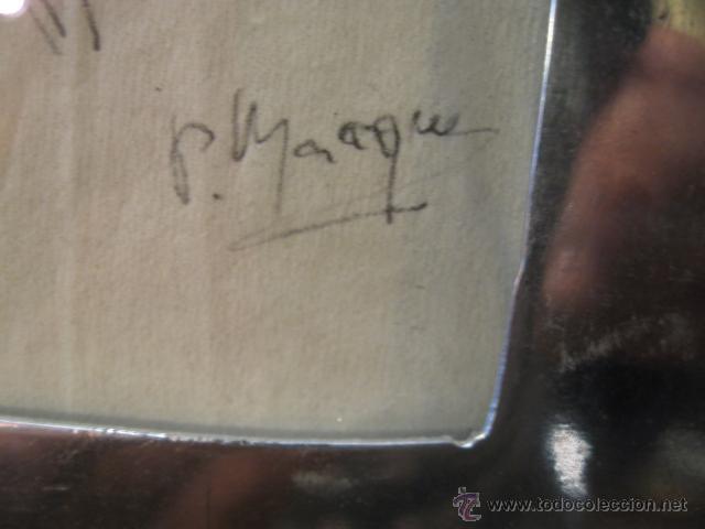 Arte: Dibujo a lapiz sobre servilleta de papel, firmado P. Marques - Marco de aluminio y madera - Foto 3 - 43059694